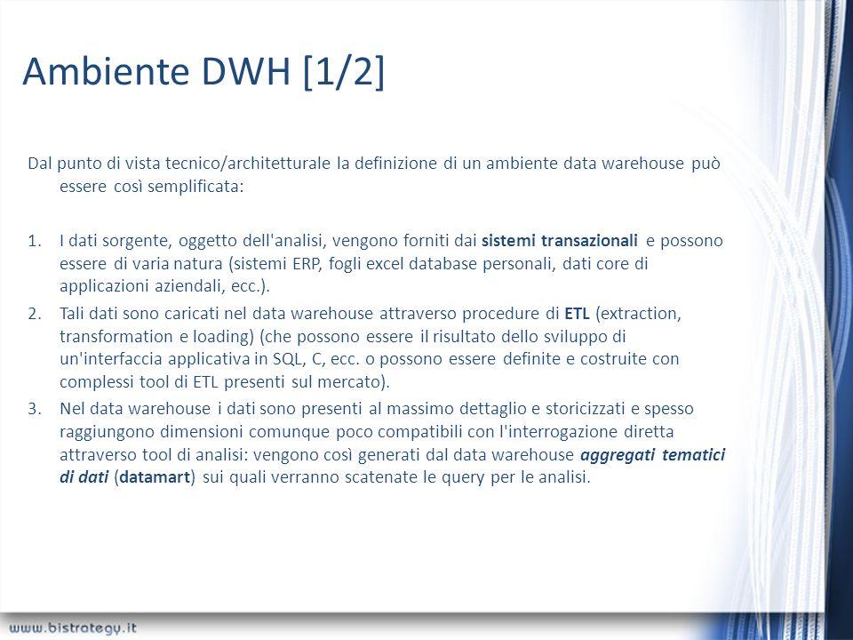 Ambiente DWH [1/2] Dal punto di vista tecnico/architetturale la definizione di un ambiente data warehouse può essere così semplificata: